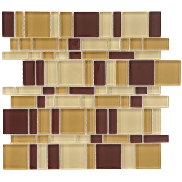 SomerTile 11 3/4x11 3/4-in Reflections Magic Suede Glass Mosaic Tile (Pack of 10)