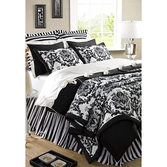 Damask Black Twin 2-piece Quilt Set