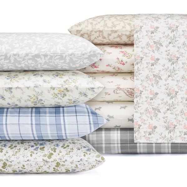 Laura Ashley Cotton Flannel Deep Pocket Bed Sheet Sets On Sale Overstock 4458640