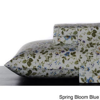 Laura Ashley Cotton Flannel Deep Pocket Sheet Sets (Spring Bloom Blue - Queen)