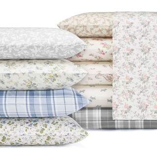 Laura Ashley 4-piece Deep Pocket Flannel Sheet Set (5 options available)