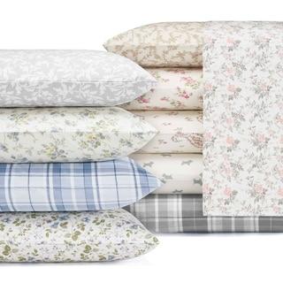 Laura Ashley 4 Piece Deep Pocket Flannel Sheet Set