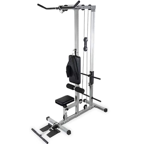 Valor Fitness CB-12 Plate Loaded LAT Pull Down Machine with Lower T-Bar and Ab Crunch Harness