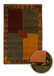 Artist's Loom Hand-knotted Contemporary Geometric Wool Rug (7'9 Round) - Thumbnail 1