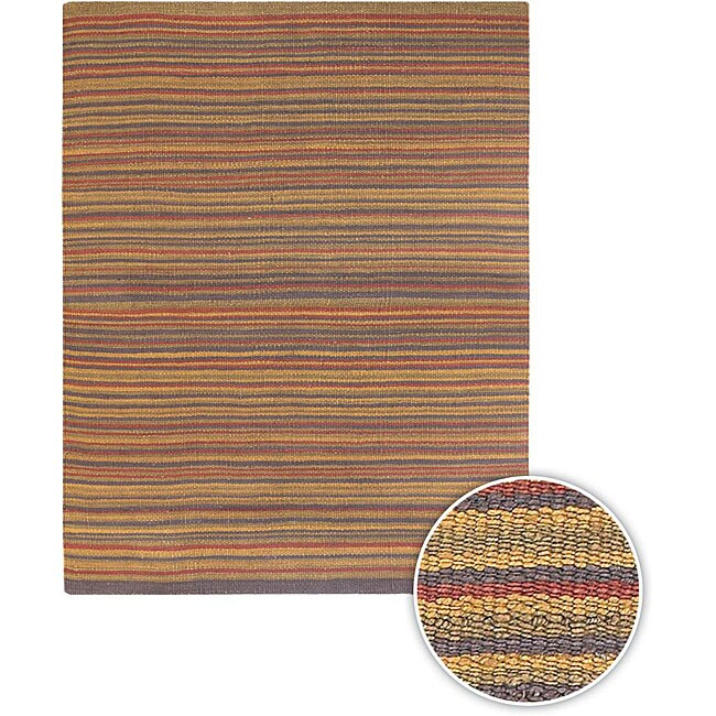 Artist's Loom Hand-woven Casual Stripes Natural Eco-friendly Jute Rug (5'x7'6)