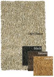 Handwoven Mandara Leather Shag Rug (4' Round) - Thumbnail 1