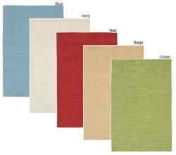 Artist's Loom Handmade Flatweave Casual Reversible Natural Eco-friendly Cotton Rug (7'9x10'6) - Thumbnail 1