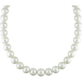 Miadora Signature Collection White South Sea Pearl and Diamond Necklace (13-15 mm)