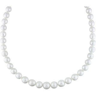 Miadora Signature Collection 14k Gold White South Sea Pearl/ Diamond Necklace (9-12 mm)