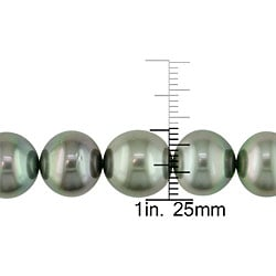 Miadora 14k Gold Black Tahitian Pearl/ Diamond Necklace (10-13 mm)