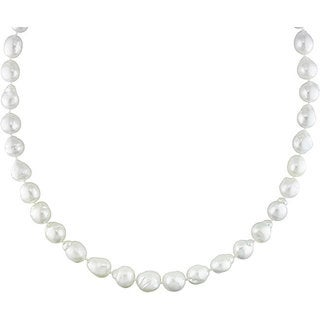 Miadora Signature Collection 14k Gold White South Sea Pearl/ Diamond Necklace (9-11 mm)