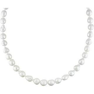 Miadora Signature Collection 14k Gold White South Sea Pearl/ Diamond Necklace (9-11 mm)