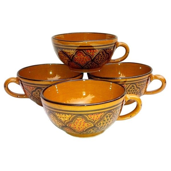 Set of 4 Latte/ Soup Honey Design Mugs (Tunisia)