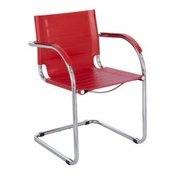 Safco Flaunt Red Leather Guest Chair