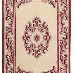 Hand-knotted Burgundy New Zealand Wool Bengal Rug (3'6 x 5'6) - Thumbnail 1