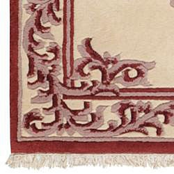 Hand-knotted Burgundy New Zealand Wool Bengal Rug (3'6 x 5'6) - Thumbnail 2