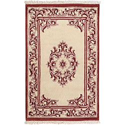 Hand-knotted Burgundy New Zealand Wool Bengal Rug (3'6 x 5'6)