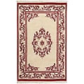 Hand-knotted Burgundy New Zealand Wool Bengal Area Rug (3'6 x 5'6)