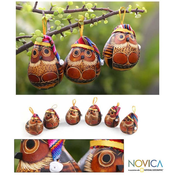 Set of 6 Mate Gourd 'Christmas Owls' Ornaments  , Handmade in Peru
