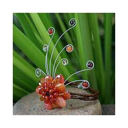 Handmade Orange Pink Chalcedony and Red Garnet Dream Flower Perfect Bridesmaid or Occasion Adjustable Womens (Thailand)