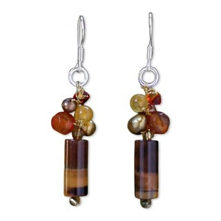 Handmade Pearl and Tiger's Eye 'Insightful' Dangle Earrings (Thailand)