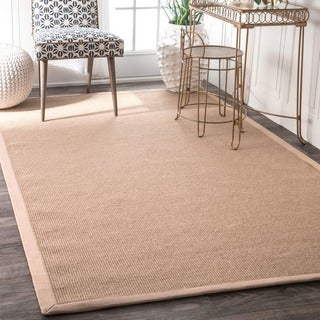 Havenside Home Lubec Handmade Eco Natural Fiber Cotton Border Jute Area Rug (8' x 10')
