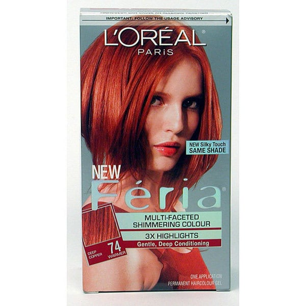 L'Oreal Feria #74 Deep Copper Hair Color (Pack of 3)