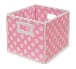 Pink Polka Dot Folding Storage Baskets (Pack of 3) - Thumbnail 1