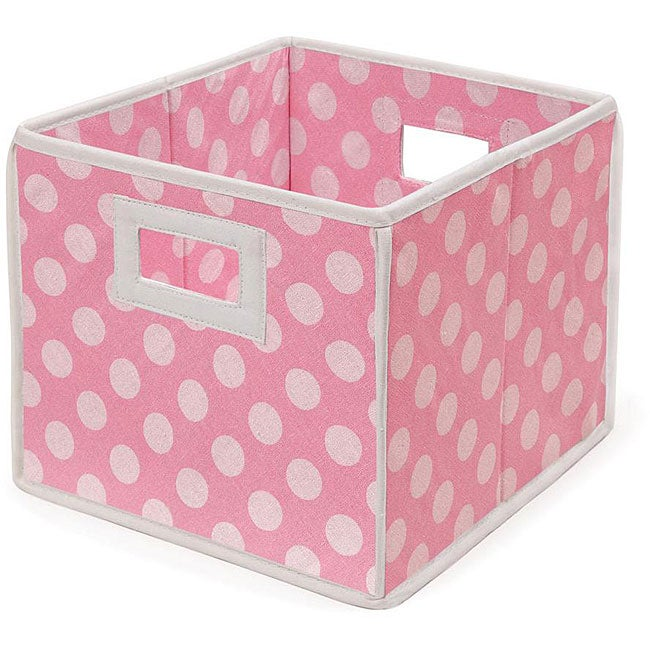 Pink Polka Dot Folding Storage Baskets (Pack of 3)