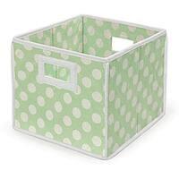 Sage Polka Dot Folding Storage Baskets (Pack of 3)