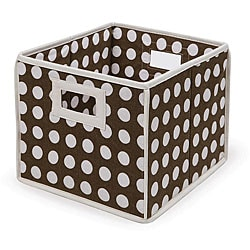 Brown Polka Dot Folding Baskets (Pack of 3)