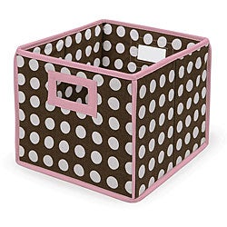 Brown Polka Dot Folding Storage Baskets (Pack of 3)