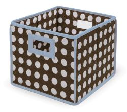 Brown Polka Dot with Blue Trim Folding Baskets (Pack of 3) - Thumbnail 1
