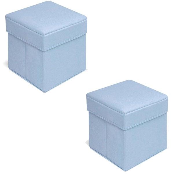 Badger Basket Blue Folding Storage Seats (Pack of 2)