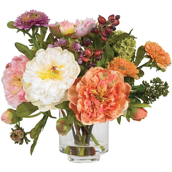 Shop silk peony flower arrangement free shipping today overstock silk peony flower arrangement mightylinksfo