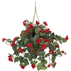 Nearly Natural Silk Begonia 10-inch Hanging Basket