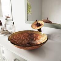 VIGO Janus Bronze and Copper Glass Vessel Bathroom Sink