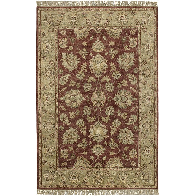 Hand-knotted Burgundy New Zealand Wool Estate Area Rug (5' x 8') - 5' x 8'