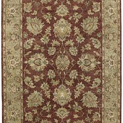 Hand-knotted Burgundy New Zealand Wool Estate Rug (5' x 8') - Thumbnail 1