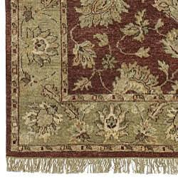 Hand-knotted Burgundy New Zealand Wool Estate Rug (5' x 8') - Thumbnail 2