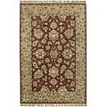 Hand-knotted Burgundy New Zealand Wool Estate Area Rug (5' x 8')