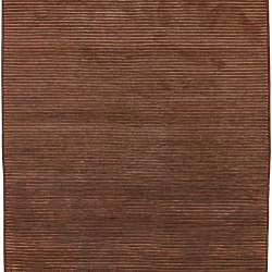 Hand-knotted Solid Brown Karur Semi-worsted New Zealand Wool Rug (5' x 8') - Thumbnail 1