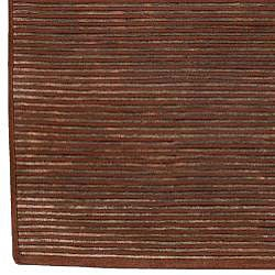 Hand-knotted Solid Brown Karur Semi-worsted New Zealand Wool Rug (5' x 8') - Thumbnail 2