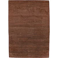 Hand-knotted Solid Brown Karur Semi-worsted New Zealand Wool Area Rug (5' x 8') - 5' x 8'