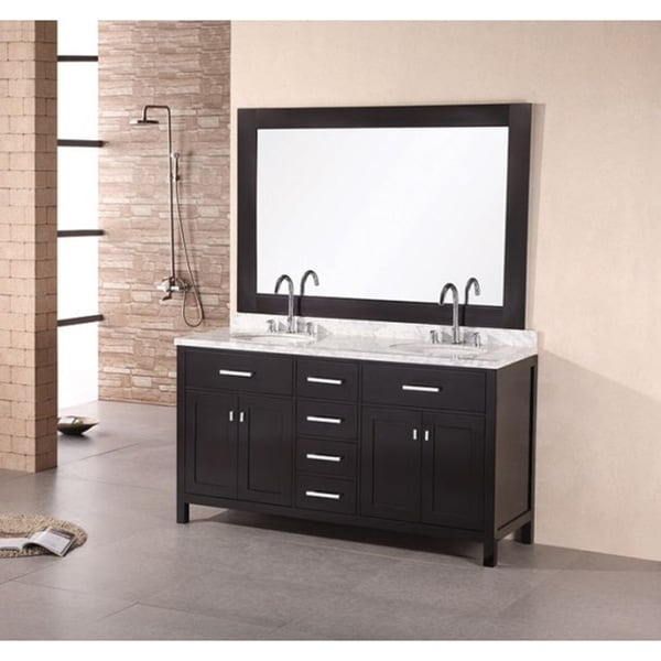 Design Element Solid Wood 61 Inch Double Sink Bathroom Vanity Set