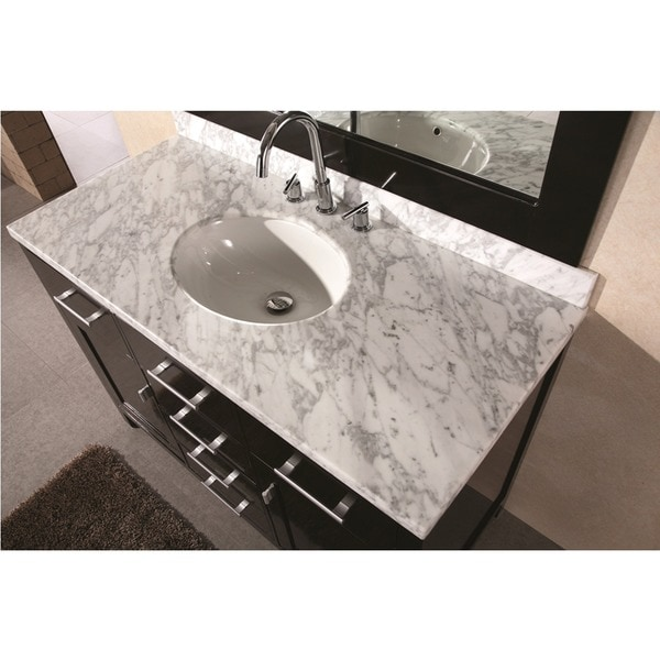 Design Element 48 Inch Lindon Modern Bathroom Vanity Set With Mirror   Free  Shipping Today   Overstock.com   12419527