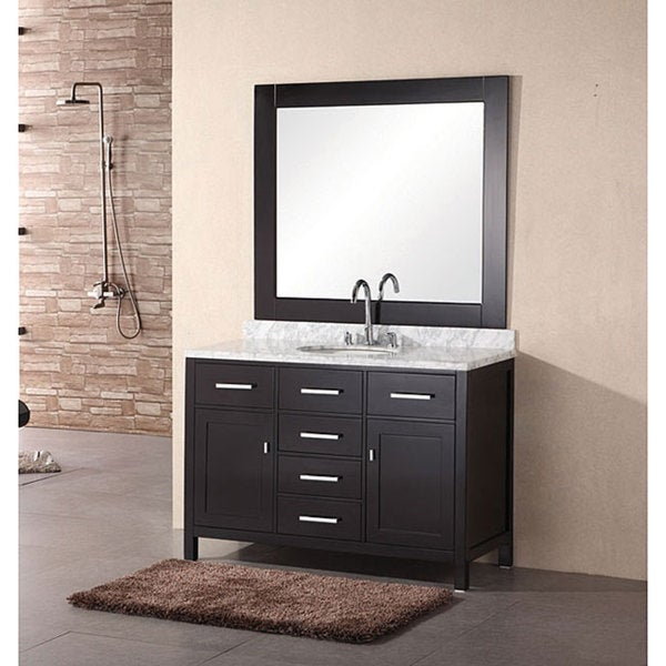Design Element 48 Inch Lindon Modern Bathroom Vanity Set With Mirror Black