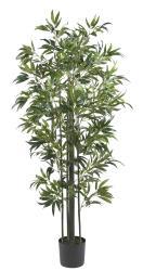 Nearly Natural 6-foot Bamboo Silk Tree (Green Trunks) - Thumbnail 2