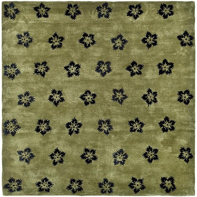 Safavieh Handmade Soho Leaves Sage New Zealand Wool Rug - 3'6 x 5'6