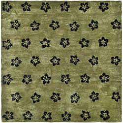 Safavieh Handmade Soho Leaves Sage New Zealand Wool Rug - 3'6 x 5'6 - Thumbnail 0